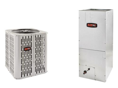 """1.5 Ton, 14 SEER, RunTru brand, by Trane (Sku# RT150) Heat Pump Split System Air Conditioner Condenser Model: A4HP4017A1000A Dimensions (HxWxD): 28.6""""H x 23.63""""W x 23.63""""D Air Handler Model: A4AH4P18A1B60A Dimensions (HxWxD): 45.02"""" x 18.5"""" x 21"""" A4AH Multi Position Air Handler Requires External Filter Rack BAYSF1185 (18.5"""")."""