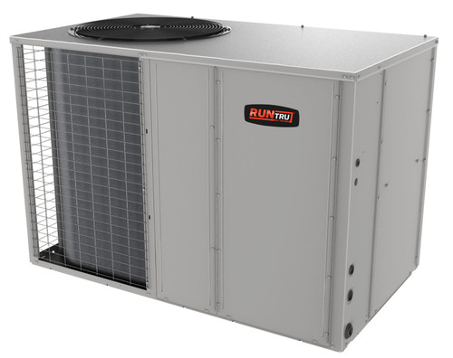 "5 Ton, 14 SEER, RunTru brand, by Trane (Sku# RT206) Straight Cool w/Electric Heater Air Conditioner Package unit Model: 4TCA4024A1000A Dimensions (HxWxD): 36.15"" x 60.81"" x 34.9"" Convertible to Downflow with Full Perimeter Roof Mounting Curb Model BAYCURB060A"