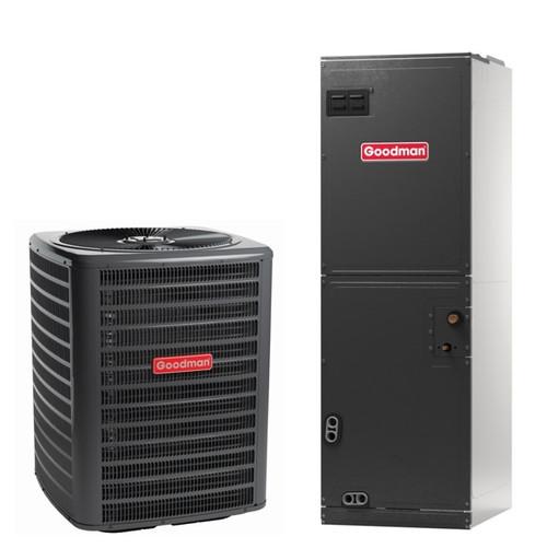 4 Ton, 14 SEER, Goodman brand (Sku# GM247) Heat Pump Split System Air Conditioner Condenser Model: GSZ140481K* Dimensions (HxWxD): 36.25 x 29 x 29 Air Handler Model: ARUF49D14A* Dimensions (HxWxD): 54 x 24.5 x 21 Multi Position Air Handler has Multi-Speed PCS Motor