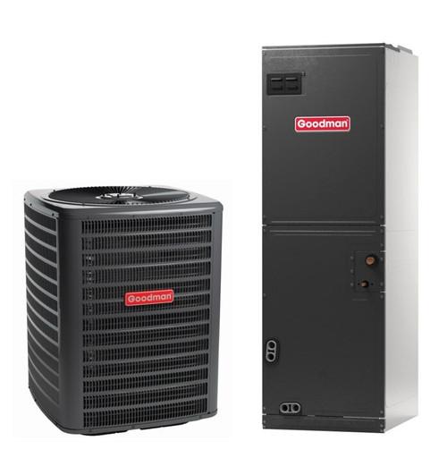 1.5 Ton, 14 SEER, Goodman brand (Sku# GM103) Straight Cool w/Electric Heater Split System Air Conditioner Condenser Model: GSX140181M* Dimensions (HxWxD): 27.5 x 26 x 26 Air Handler Model: ARUF25B14A* Dimensions (HxWxD): 45 x 17.5 x 21 Multi Position Air Handler has Multi-Speed PCS Motor