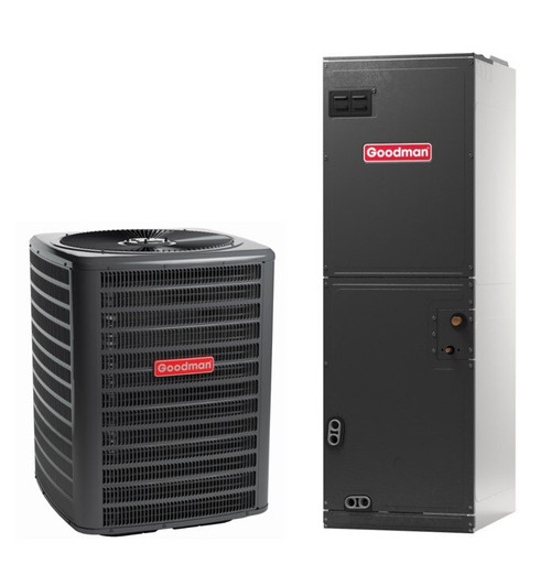 1.5 Ton, 14 SEER, Goodman brand (Sku# GM105) Straight Cool w/Electric Heater Split System Air Conditioner Condenser Model: GSX140181M* Dimensions (HxWxD): 27.5 x 26 x 26 Air Handler Model: ARUF25B14A* Dimensions (HxWxD): 45 x 17.5 x 21 Multi Position Air Handler has Multi-Speed PCS Motor