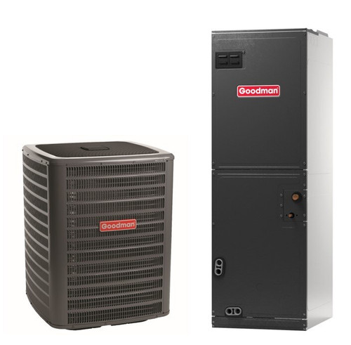 1.5 Ton, 16 SEER, Goodman brand (Sku# GM109) Straight Cool w/Electric Heater Split System Air Conditioner Condenser Model: GSX160181F* Dimensions (HxWxD): 32.25 x 29 x 29 Air Handler Model: AVPTC25B14B* Dimensions (HxWxD): 45 x 17.5 x 21 Multi Position Air Handler has Variable Speed ECM Motor