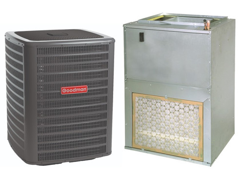 1.5 Ton, 15 SEER, Goodman brand (Sku# GM111) Straight Cool w/Electric Heater Split System Air Conditioner Condenser Model: GSX160181F* Dimensions (HxWxD): 32.25 x 29 x 29 Air Handler Model: AWUF310516A* Dimensions (HxWxD): 36 x 24 x 21 Wall-Mount/Front Return Air Handler has Constant Torque ECM Motor