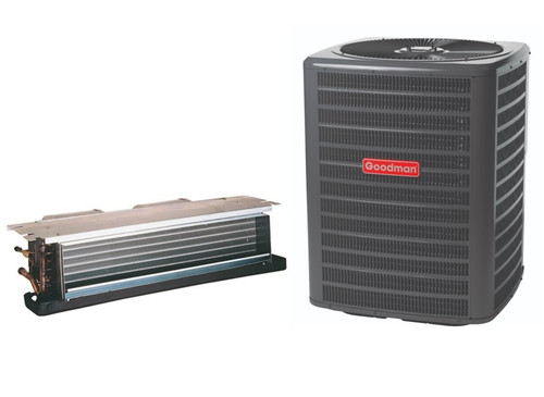 1.5 Ton, 14 SEER, Goodman brand (Sku# GM112) Straight Cool w/Electric Heater Split System Air Conditioner Condenser Model: GSX160181F* Dimensions (HxWxD): 32.25 x 29 x 29 Air Handler Model: ACNF240516A* Dimensions (HxWxD): 10 x 43.25 x 21 Ceiling-Mounted Air Handler has Multi-Speed PCS Motor