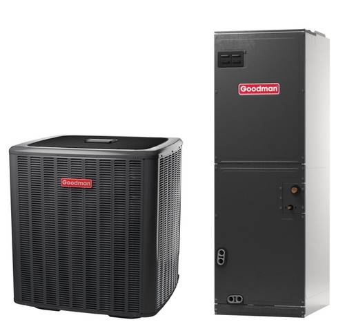 2 Ton, 18 SEER, Goodman brand (Sku# GM131) Straight Cool w/Electric Heater Split System Air Conditioner Condenser Model: GSXC180241B* Dimensions (HxWxD): 40 x 35.75 x 35.75 Air Handler Model: AVPTC29B14A* Dimensions (HxWxD): 53.5 x 17.5 x 21 Multi Position Air Handler has Variable Speed ECM Motor