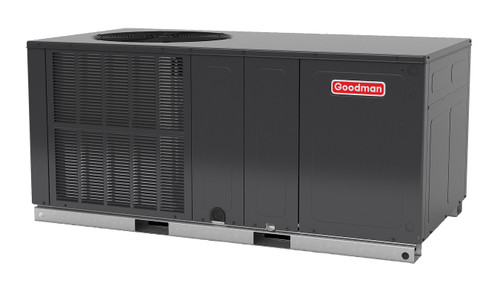 2.5 Ton, 14 SEER, Goodman GM334) Straight Cool w/Electric Heater Air Conditioner Package unit Model: GPC1430H41G* Dimensions (HxWxD): 30.5 x 66 x 33 Horizontal Duct applications only