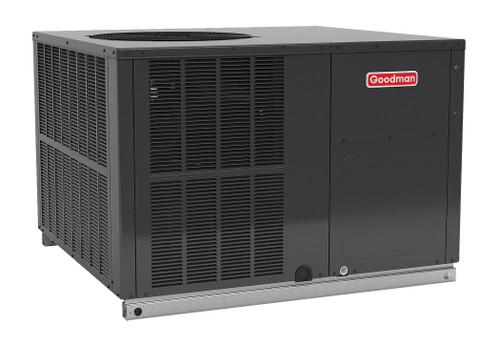 2.5 Ton, 14 SEER, Goodman GM337) Heat Pump Air Conditioner Package unit Model: GPH1430M41A* Dimensions (HxWxD): 34.75 x 47 x 51 Convertible to Downflow