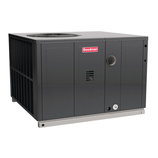 2 Ton, (60,000 BTU Heat) 14 SEER, Goodman brand, (Sku# GM377) Gas Heat Air Conditioner Package unit Model: Dimensions (HxWxD): 34.75 x 47 x 51 Convertible to Downflow