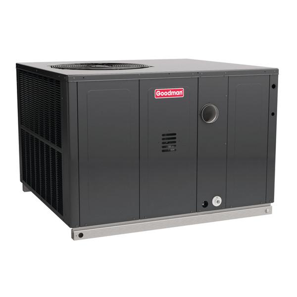 2.5 Ton, (80,000 BTU Heat) 14 SEER, Goodman brand, (Sku# GM388) Dual-Fuel Heat Air Conditioner Package unit Model: Dimensions (HxWxD): 34.75 x 47 x 51 Convertible to Downflow