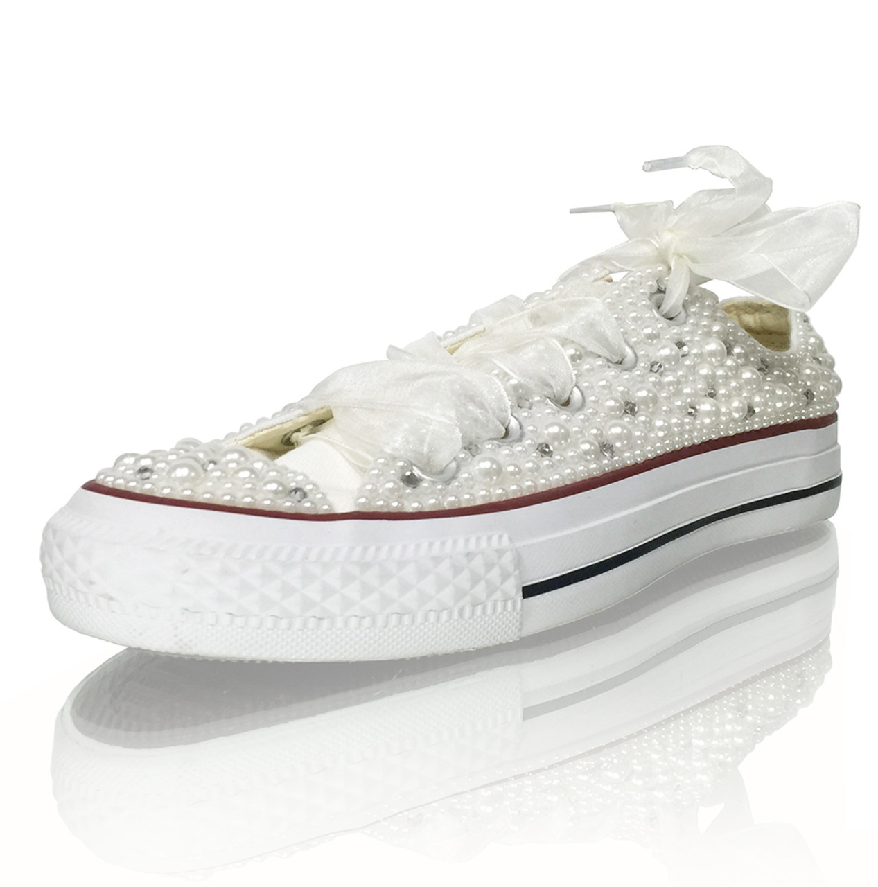 9b468755ee3a Tayan s Chiffon Lace up Pearl Converse Sneakers