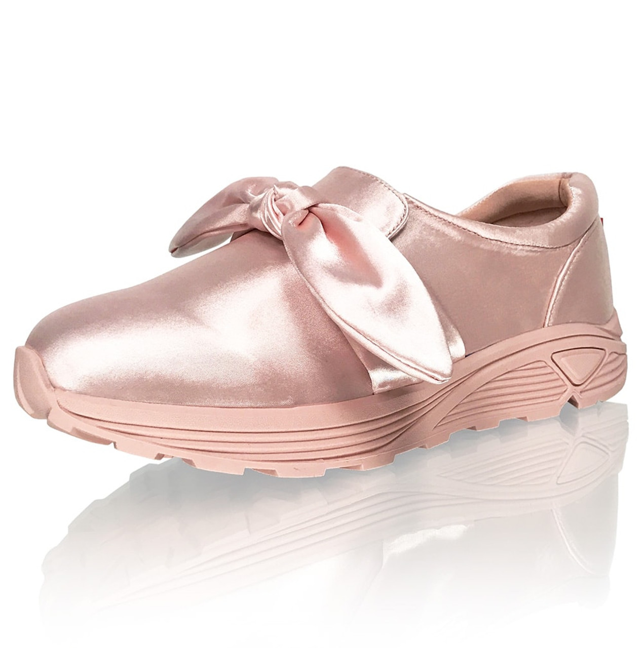 Detachable Bow Satin Fashion Sneakers (RUN BIG, buy a size smaller)