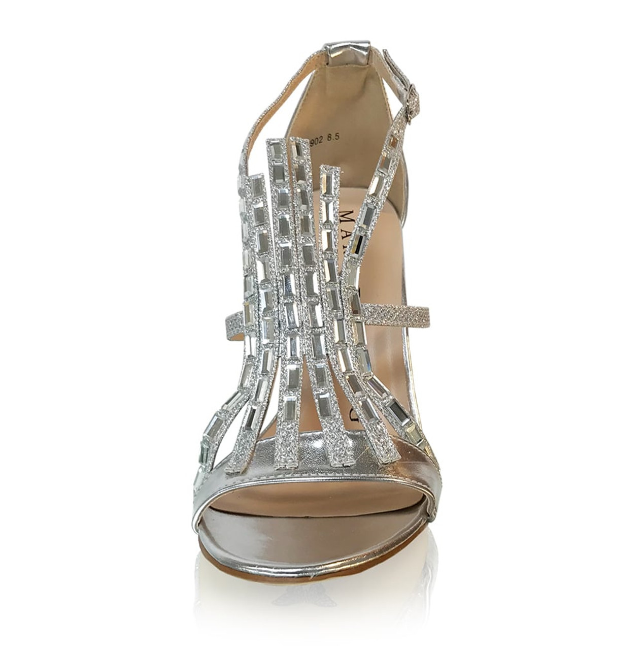 Chunky Stone Front Strap Sandal Heels-Silver
