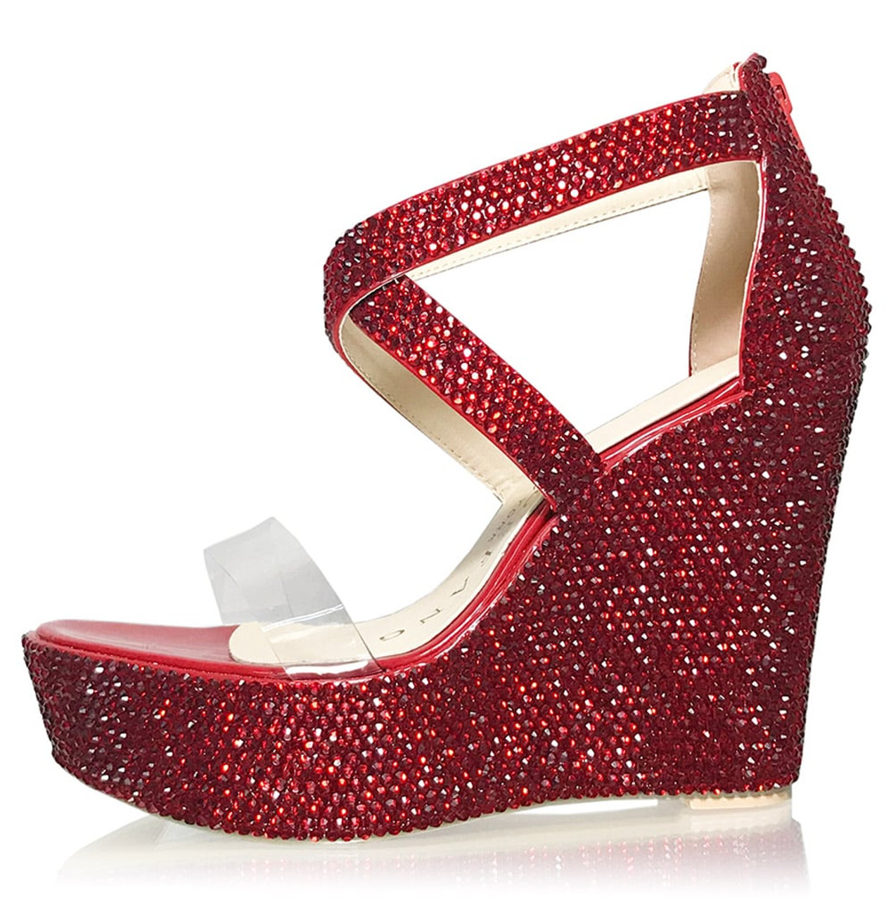 Red Crystal Clear Strap wedges
