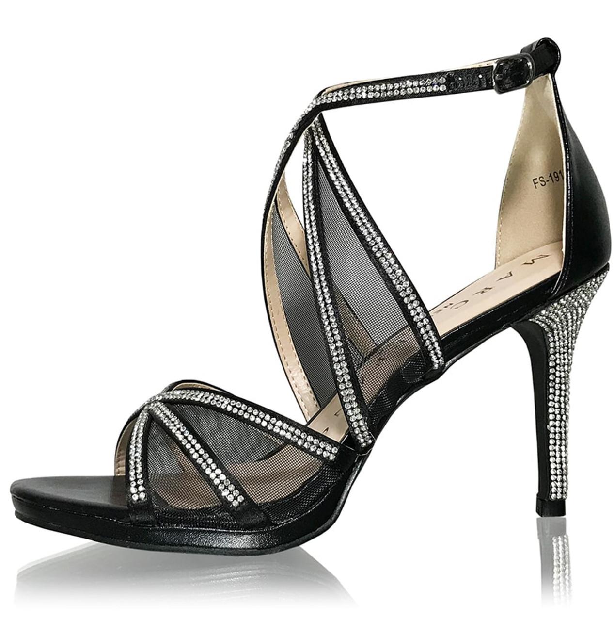 Clear Crystal Satin Strap Black Heels