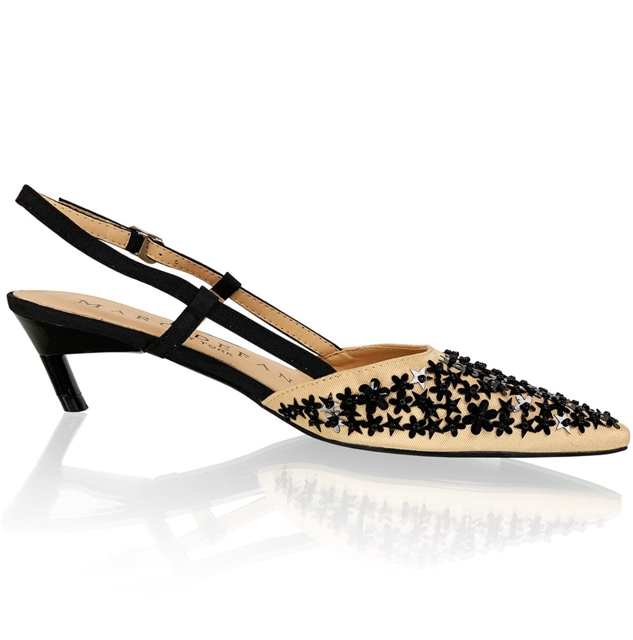 "2"" Strappy Pointed Toe Pumps with Star Sequins details"
