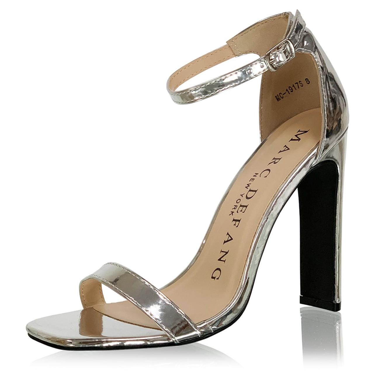 Glossy  Silver Single Strap Heels