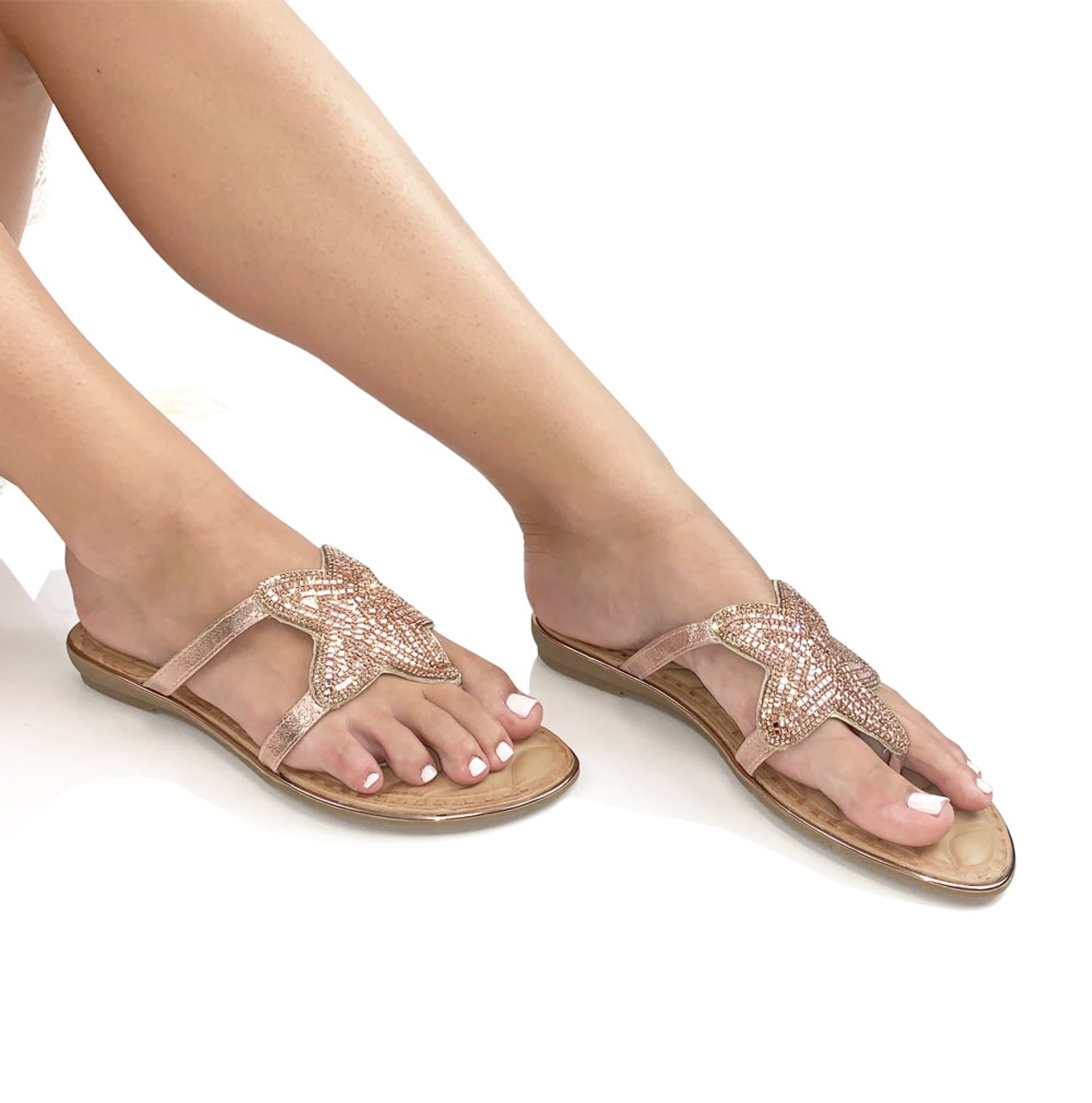 Star Thong Sandals - Rose Gold
