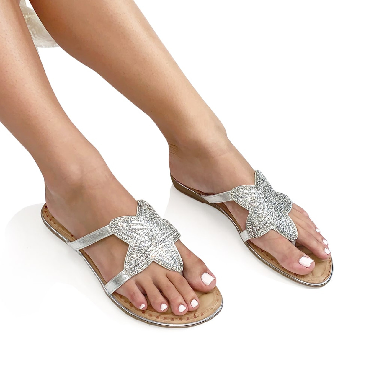 Star Thong Sandals - Silver