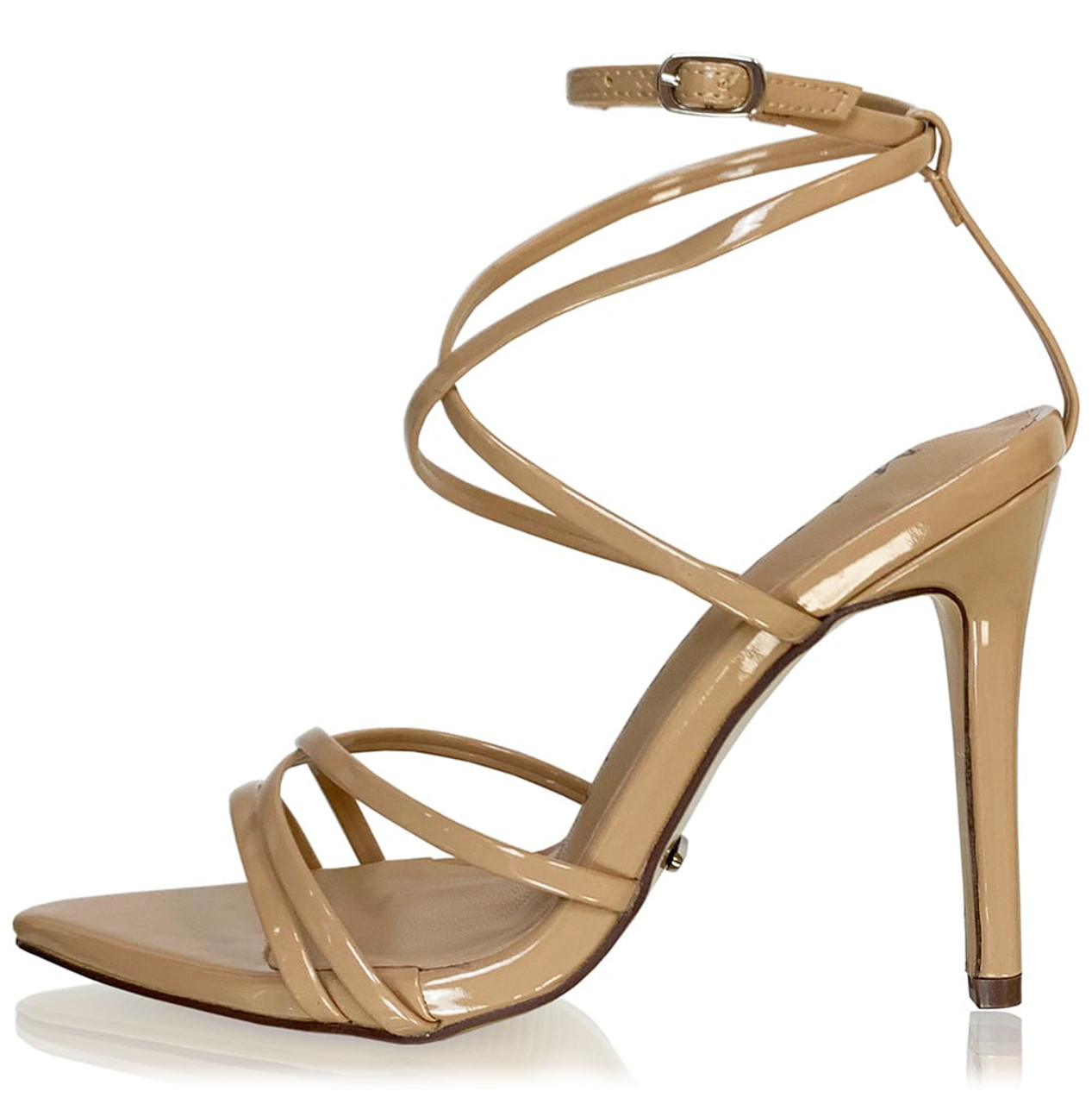 Strappy Pointy Nude Sandal Heels
