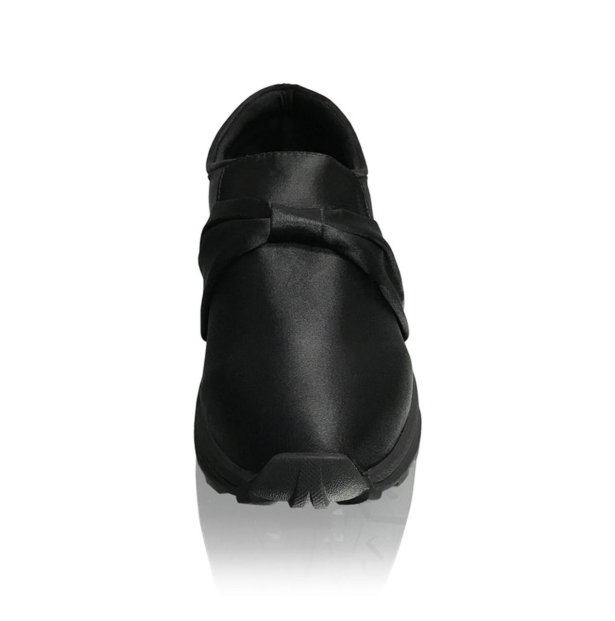 Black Detachable Bow Satin Fashion Sneakers