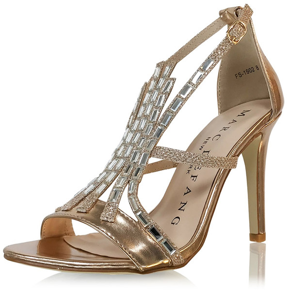 Chunky Stone Front Strap Sandal Heels - Rose Gold