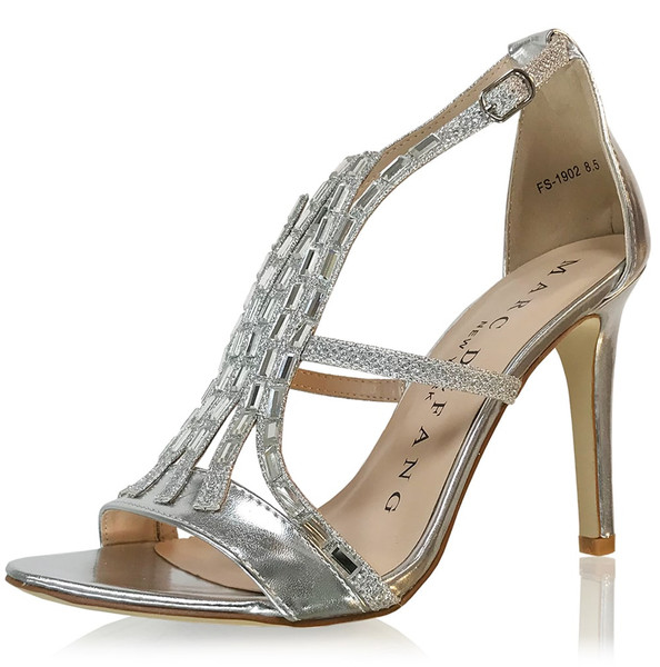 375ae1ab5c38e Chunky Stone Front Strap Sandal Heels-Silver