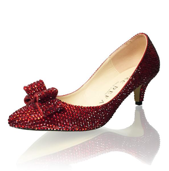 "2"" Kitten Heels Dorothy Slippers Ruby Red Crystal Bridal Pumps"