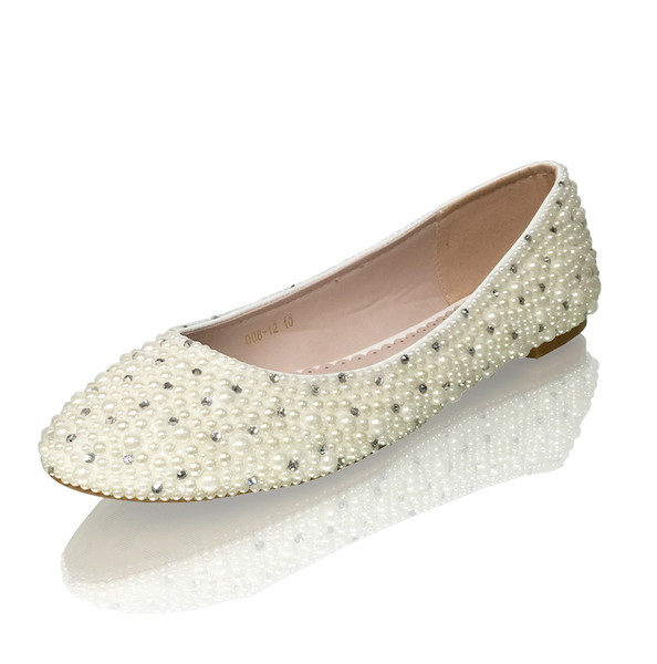 Pearl Bridal Flats with Crystal Accents