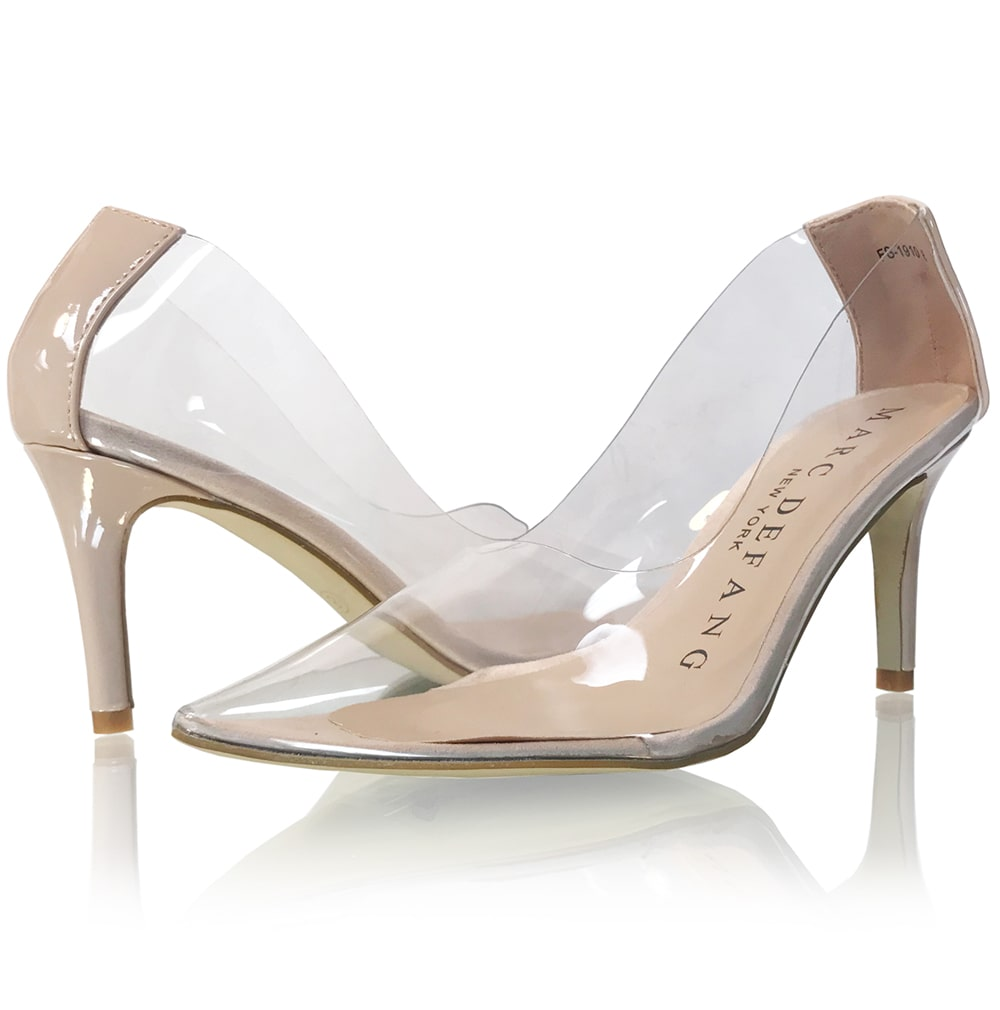 1163baaf0828 ... Lt. Nude Clear Pointed Toe Pumps ...