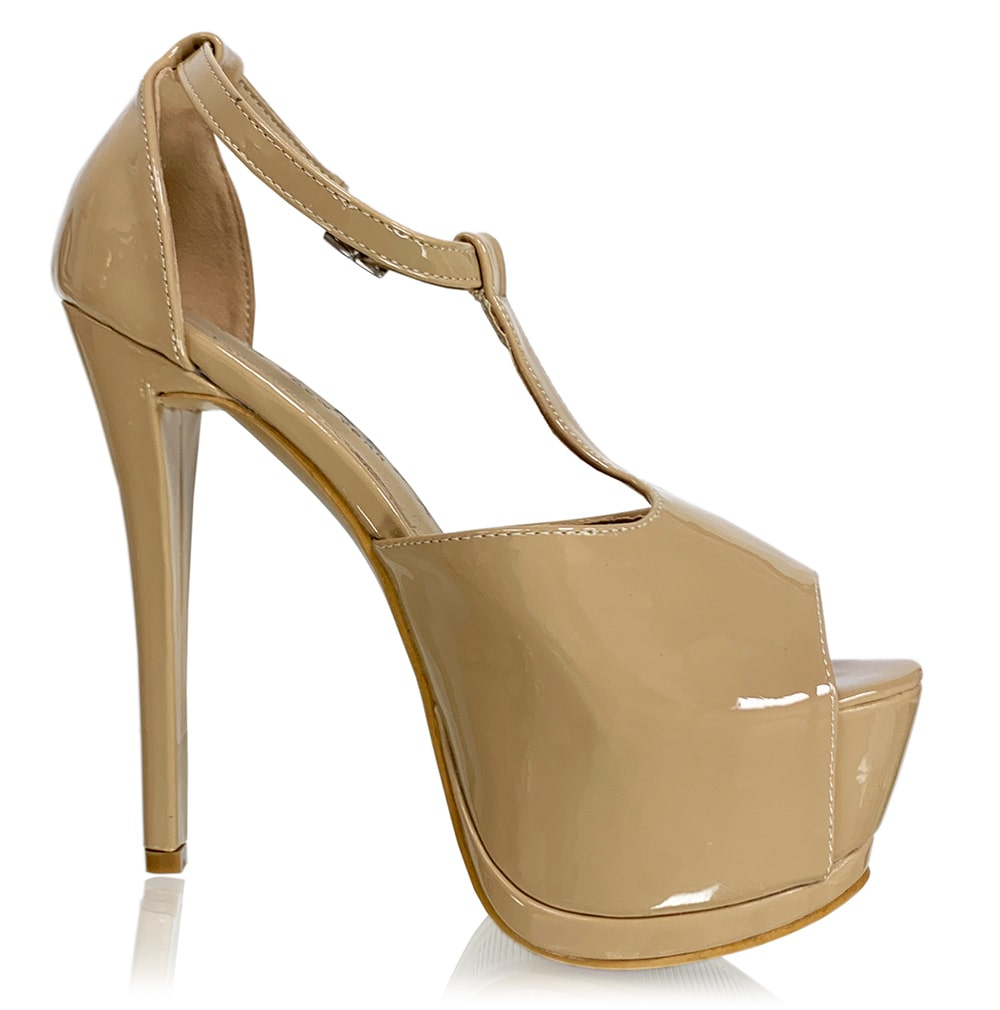 a2338abb238 T-strap Double Platform Nude High Heels