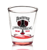 The original Freakybuttrue Peculiarium logo in black and red, on a proper shot glass. 4 or 5 people who drink liquids recommend these glasses, and so do we.