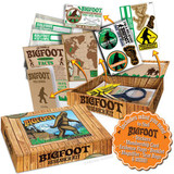 """For the serious Bigfoot enthusiast. The box is 7"""" x 5"""" x 1-1/2"""" and filled with Bigfoot research items such as stickers, membership card, field journal, and more."""
