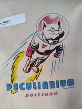 100% cotton canvas with Colin Batty's Rocket Cat design. Peculiarium branded. Portland, Oregon.
