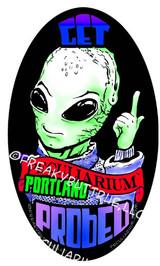 Peculiarium Alien probed Portland New Vinyl Sticker
