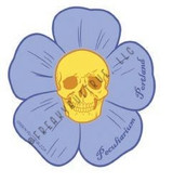 Skull with Blue Flower Sticker