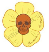 Skull with Yellow Flower Sticker