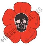 Skull with Red Flower Sticker