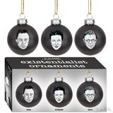 """Set of 3 glass ornaments Each is 2"""" in diameter Three famous existentialists celebrate Christmas Sure to dampen the world's joy"""