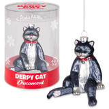 """3-1/4"""" tall glass ornament A less than regal looking cat Derpy means silly-looking Comes with string for hanging"""