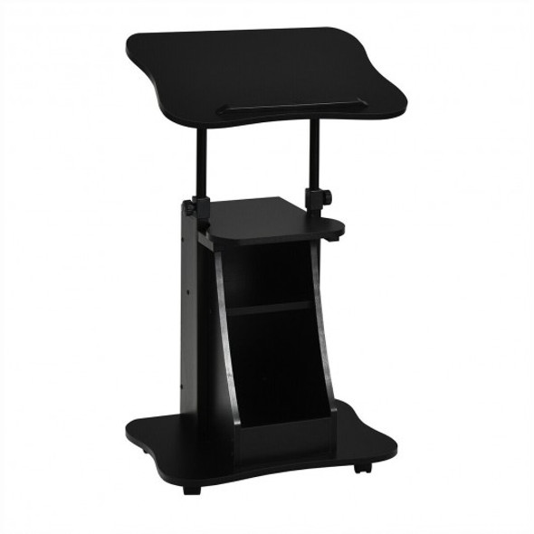 Sit-to-Stand Laptop Desk Cart Height Adjustable with Storage-Black