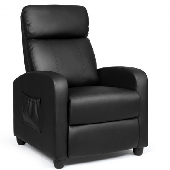 Recliner Sofa Wingback Chair with Massage Function-Black
