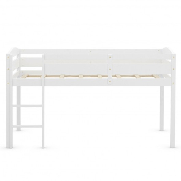 Wooden Twin Low Loft Bunk Bed with Guard Rail and Ladder-White