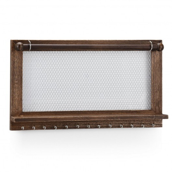 Wall Mounted Jewelry Rack with Removable Bracelet Rod