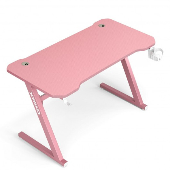 """47"""" Z-Shaped Computer Table with Cup Holder Headphone Hook-Pink"""