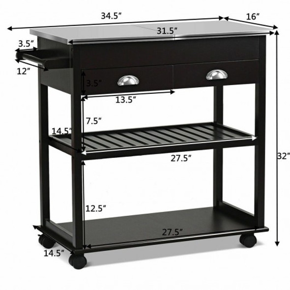 Stainless Steel Mobile Kitchen Trolley Cart With Drawers & Casters-Brown