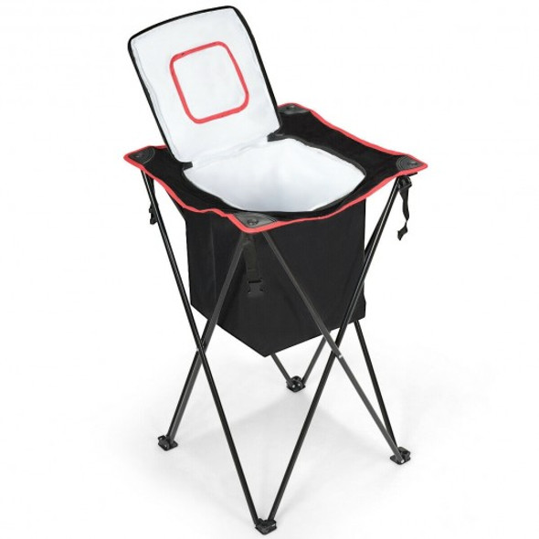 Portable Tub Cooler with Folding Stand and Carry Bag-Black