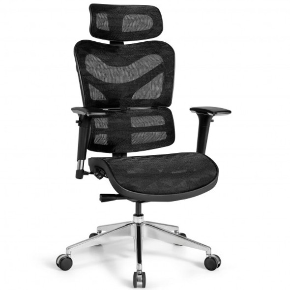 Ergonomic Mesh Adjustable High Back Office Chair with Lumbar Support-Black