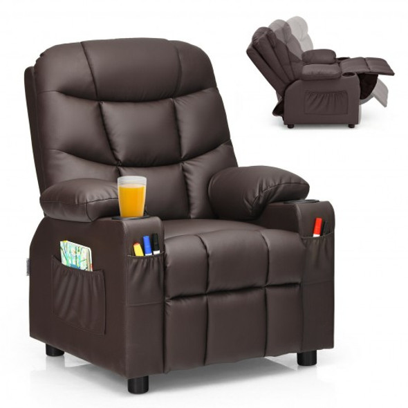 PU Leather Kids Recliner Chair with Cup Holders and Side Pockets-Brown