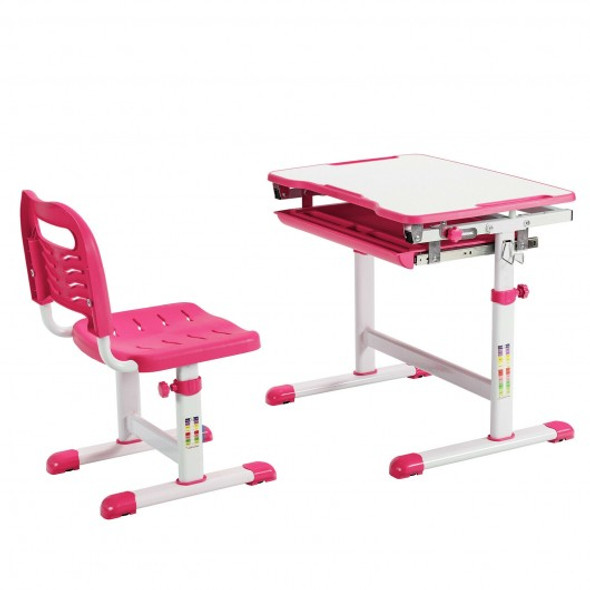 Kids Height Adjustable Desk and Chair Set with Tilted Tabletop and Drawer-Pink