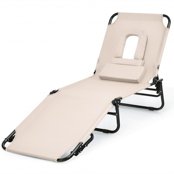Outdoor Folding Chaise Beach Pool Patio Lounge Chair Bed with Adjustable Back and Hole-Beige